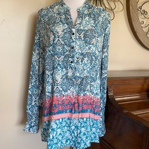 Dress Barn Size 18W 20W Blue Blouse Top